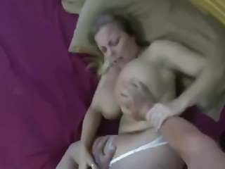 Descendant fucks his busty and hairy mother and cums inside