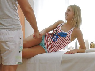 Cute Blonde Russian Teen Fucked Helter-skelter Orgasm By Massage Boy