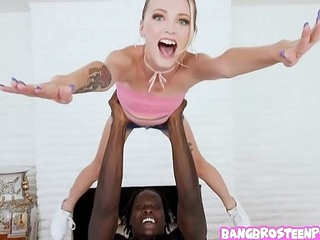 Assistant small blonde teen sucks a huge black unearth