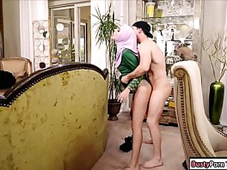 Sexy arab babe giving a blowjob and then gets rammed hard