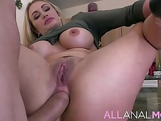 FULL SCENE on http://ALLAnalMOM.com - Claudia Valentine has a delicious peach booty, and her s.'s best friend can't help but notice as she makes them a sandwich in the kitchen.